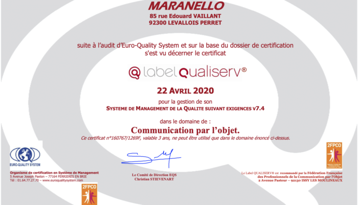 Certificat Qualiserv Maranello 2020