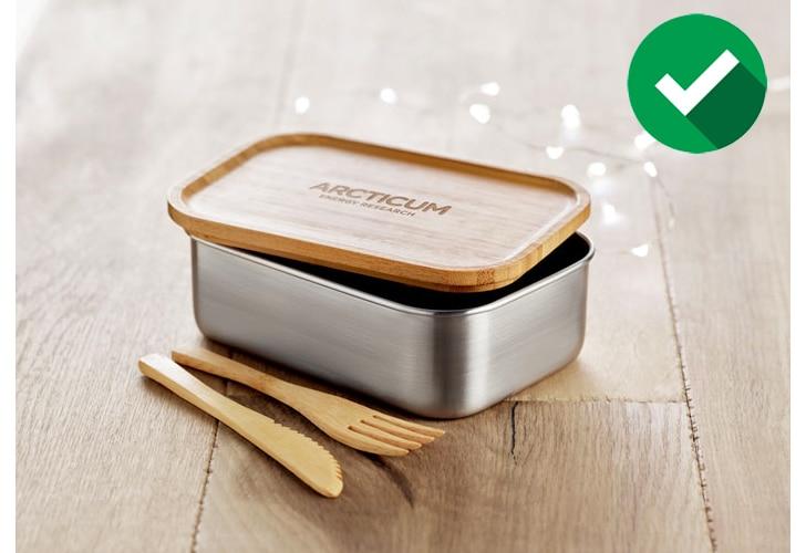 Lunchbox en acier inoxydable avec couvercle en bambou